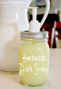 Homemade Dish Soap  1/4 cup soap flakes or soap shavings (I used Fels Naptha.)  2 cups water  1-2 Tablespoons distilled white vinegar or lemon juice (I used vinegar.)  1 Tablespoon glycerin (optional)