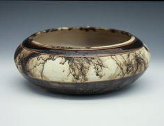 Large banded horse hair fired bowl by DakotaBones on Etsy