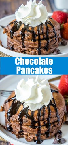 Chocolate Pancakes - A Chocolate lover's dream breakfast! Thick and fluffy chocolate pancakes with melted chocolate chips in every bite. A sweet and decadent breakfast treat! Delicious Breakfast Recipes, Savory Breakfast, Sweet Breakfast, Dessert Recipes, Pancake Recipes, Yummy Food, Breakfast Time, Brunch Recipes, Breakfast Ideas