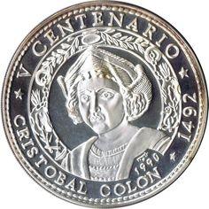 Moneda 5 onzas de plata 50 pesos Cuba Cristobal Colón 1990.