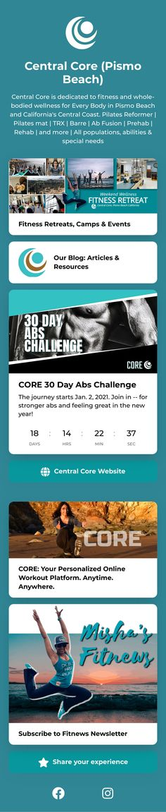 30 Day Ab Challenge, Pismo Beach, Pilates Reformer, Trx, Special Needs, Ecommerce, Landing, Challenges, Wellness