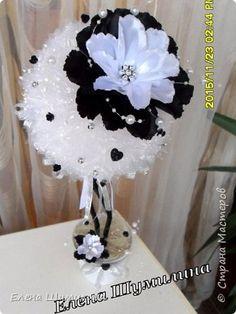 Бонсай топиарий ёлка 8 марта Новый год Моделирование конструирование Топиарий-дерево счастья  Черно-белый топиарий  фото 2