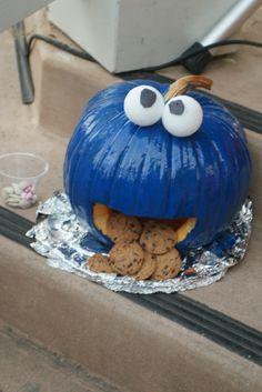 """Cookie Monster"" pumpkin.  Love it."