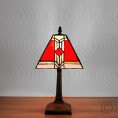 Louis Comfort Tiffany Style 'Aztec' Table Lamp