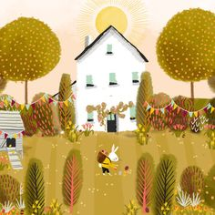 illustration and art by Jane Newland, represented by The Bright Agency. Easter Illustration, Landscape Illustration, Digital Illustration, Coffee Illustration, Naive Art, Happy Easter, Easter Bunny, Art Portfolio, Whimsical Art