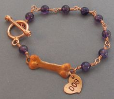 Unisex Copper Dog Bone Bracelet Amethyst Heart Charm  at For Love of a Dog