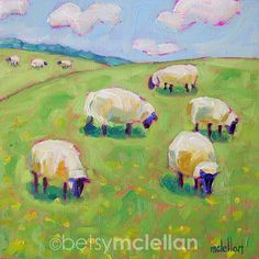 Flock of Sheep Original Painting by betsymclellanstudio on Etsy