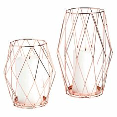 Wedding Roses - Set the scene for romance with this Rose Gold Candle Holder Set! Pretty and light, these candle holders make beautiful centerpieces or accent decorati . Rose Gold Candle Holder, Geometric Candle Holder, Metal Candle Holders, Rose Gold Lantern, Rose Candle, Unity Candle, Rose Gold Room Decor, Rose Gold Rooms, Rose Gold And Grey Bedroom