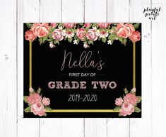 Personalized Floral First Day of School Print, 8x10, Digital Download, Printable by playfulprintsart on Etsy Childrens Room Decor, One Day, First Day Of School, Kid Names, Decoration, Printables, Messages, Digital, Floral