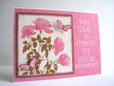 """By Lin Brandyberry (quilterlin at Flickr).  Stamp Hero Arts """"Silhouette Meadow Flowers"""" negative stamp on white cardstock. Heat emboss with white powder. Press stamp pads onto craft mat; spritz. Use paintbrush or water brush to pick up ink & color flowers & leaves. Mat. Add to card base. Add sentiment in VersaMark & heat emboss with white powder."""