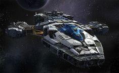 Star wars T. Gen Civilian Cargo Ship by on DeviantArt Spaceship Art, Spaceship Design, Concept Ships, Concept Art, Stargate, Kampfstern Galactica, Battlestar Galactica, Starship Concept, Sci Fi Spaceships