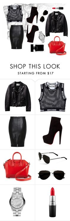 """""""Glam rock"""" by wasiluk-paula on Polyvore featuring moda, Moschino, Christian Louboutin, Givenchy, Calvin Klein, Marc by Marc Jacobs, MAC Cosmetics, Narciso Rodriguez, women's clothing i women"""