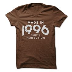 Made In 1996 Aged To Perfection T-Shirts, Hoodies. GET IT ==► https://www.sunfrog.com/Birth-Years/Made-In-1996-Aged-To-Perfection-9401558-Guys.html?id=41382