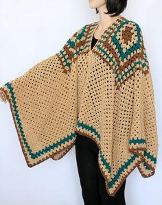 Crochet Poncho Beige Poncho Woman's Pullover Cardigan Capes for Women Knitted Poncho Tops and Tees Sweater Cape Poncho Shrugs and Boleros by ettygeller on Etsy Crochet Poncho Patterns, Knitted Poncho, Crochet Shawl, Hand Crochet, Knit Crochet, Tunisian Crochet, Pdf Patterns, Shrugs And Boleros, Poncho Tops