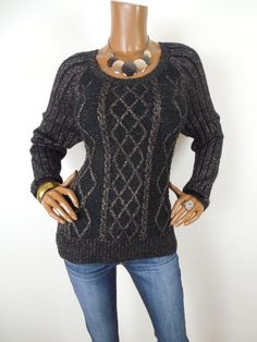 619fbc79da APT 9 Womens Top M Cable Knit Sweater Shirt Black Gold Metallic Long Sleeve