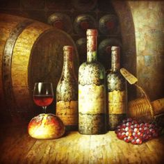 Wine Art! Wine Painting, Food Painting, Cheese Art, Rice Wine, Wine Art, Glass Blocks, Wine Making, Center Pieces, Table Centerpieces