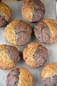 'black   white' oat muffins (chocolate   banana)