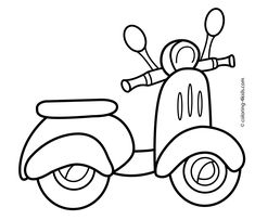Scooter transportation coloring pages for kids, printable free