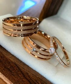 wedding rings couple Diamond Wedding Trio His and Her Bridal Engagement Ring Set Rose Gold Wedding Rings Sets His And Hers, His And Hers Rings, Ruby Wedding Rings, Bridal Rings, Diamond Wedding Bands, Engagement Rings Couple, Engagement Wedding Ring Sets, Couple Ring Design, Emerald Band