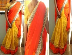 Code: RS027  Half and half saree with orange georgette for outer half finished with gold cutwork borders and self designed yellow net fabric for pleats finished in orange patti and orange thread work border.  Blouse: Yellow semi raw silk for body and gold net fabric for pattern  Price: INR 3200  Please mail us at ramanisarees@gmail.com