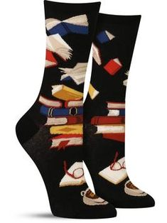 Fun book socks for women, with a black background