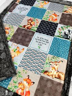 Name Blanket Minky Jungle Theme Boy Blue and Gray Embroidered Est