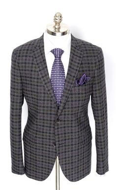 Purple adds a lovely finish to this Etro Milano charcoal plaid wool  amp   cashmere sport 4e7c22a508281