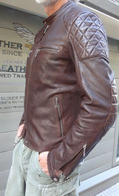 Brown color cow hide cafe racer style      https://www.etsy.com/listing/104987310/brown-cowhide-color-100-veg-and-full?ref=v1_other_2