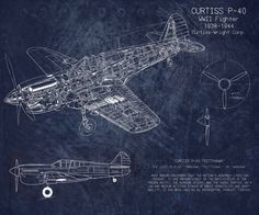 Biplane patent print vintage airplane airplane blueprint curtiss p40 wwii airplane blueprint art version b by scarletblvd 4000 dont malvernweather Images