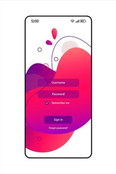 Login page smartphone interface vector fluid template. Mobile app pink and purple gradient design layout with password and username fields. Cellphone authorization screen with bubbles. Phone display. If you are interested in custom design or want to make some adjustments to purchase the product,