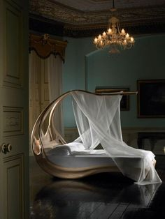 Woodworked canopy bed.