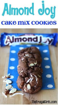 Craving an Almond Joy Bar? I've got a fun way to satisfy your fix. with this delicious Almond Joy Cake Mix Cookies Recipe! Cake Mix Desserts, Cake Mix Cookie Recipes, Delicious Cookie Recipes, Cookie Desserts, Easy Desserts, Dessert Recipes, Cookie Mixes, Health Desserts, Easy Recipes