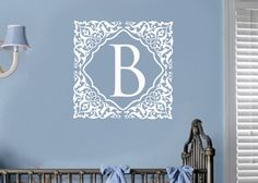 Personalized Damask monogram wall decal for girls or boys. Very elegant!