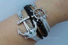 anchor and rudder bracelet  Antique Silver anchor rudder by Jiadan, $8.99