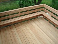 "decks with bench as railing | Evergrain Deck & Rail w/ 4"" Sq. Wire Panels : Weathered Wood"