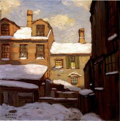 """Lawren Harris - """"Old Houses"""", 1912 (Group of Seven) Group Of Seven Artists, Group Of Seven Paintings, Paintings I Love, Beautiful Paintings, Art Paintings, Emily Carr, Canadian Painters, Canadian Artists, Winter Painting"""