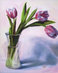Three Tulips in a Vase by Tracy Wall Flower Painting, Greeting Card Art, Watercolor Tulips, Drawings, Floral Art, Painting, Watercolor Flowers, Flowers In Vase Painting, Art