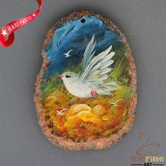 HAND PAINTED DOVE BIRD AGATE SLICE GEMSTONE NECKLACE PENDANT ZL8017977 #ZL #PENDANT