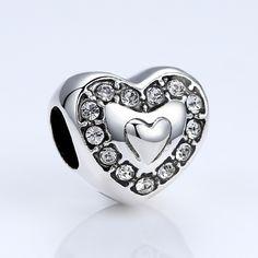 BAMOER 18k Gold Plated Heart Shape Crystals Beads for Bracelets DIY Accessories for Women Girls