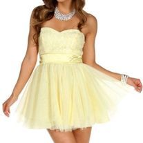 New Windsor Yellow Glitter Floral Strapless Short Party Prom Dress