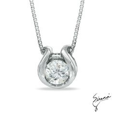 Sirena™ Accent Solitaire Horseshoe Pendant in White Gold - Jewelry Necklaces - Gordon's Jewelers Diamond Solitaire Necklace, Diamond Pendant, Diamond Jewelry, Silver Jewelry, Fine Jewelry, 4 Diamonds, Mom Ring, Schmuck Design, Wedding Rings