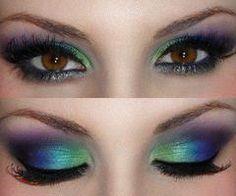 white, green, blue, purple, pink eyeshadow for brown eyes