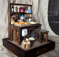 Vintage Small old Bakery- Baking bread- Miniatures by Hea Kyung, via Behance