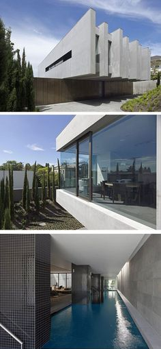 Austere concrete home with indoor pool.