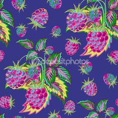 Ręcznie malowane wzór jasny kolorowy malina na niebieskim tle. Owoc bezszwowe tło dla menu i desery, restauracje i kawiarnie, tapety itp — Ilustracja stockowa #96670700