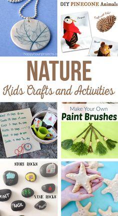 Nature - Kids Crafts & Activities | DIY Butterfly House, painted rocks, rainforest in a jar, salt dough starfish, treasure hunt, hummingbird feeder, pinecone animals and explorer journal