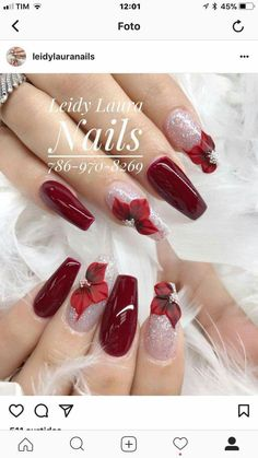 Nail art Christmas - the festive spirit on the nails. Over 70 creative ideas and tutorials - My Nails Xmas Nails, 3d Nails, Holiday Nails, Christmas Nails, Chic Nails, Trendy Nails, Nail Deco, Nail Art Noel, 3d Nail Designs