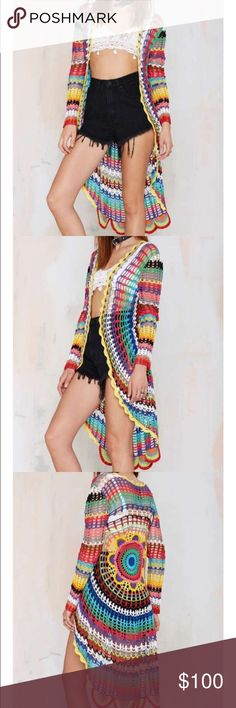 #53 unif 🐥🍂 Psych yourself out in this badass beauty. The Mandala Cardigan is made in a bright multicolored crochet knit and features scalloped edging and open front. We love it with cutoffs and a leather bra, or a slinky tank dress and ankle boots. By UNIF.  *Cotton/Acrylic  *Runs true to size  *Model is wearing size small  *Dry clean# Nasty Gal Sweaters Cardigans