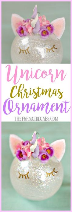 This magical Unicorn Christmas Ornament is an easy DIY ornament to make for your Christmas tree this year! #Ornaments #Christmas #DIY