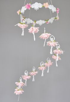 Ballerina mobile, Ballet mobile, Ballet decor, flower mobile,Ballerina decor, princess mobile, nursery decoration, baby shower, baby mobile